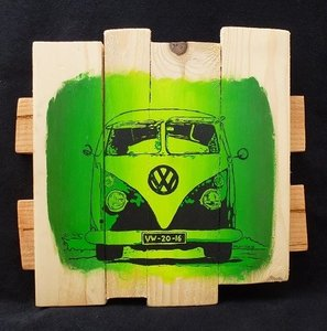 """Schilderij op hout, oldtimer: """"Bus T1 groen"""""""